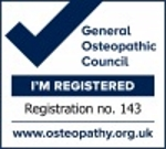 Registered osteopath certification mark with General Osteopathic Council (GOC)registration number